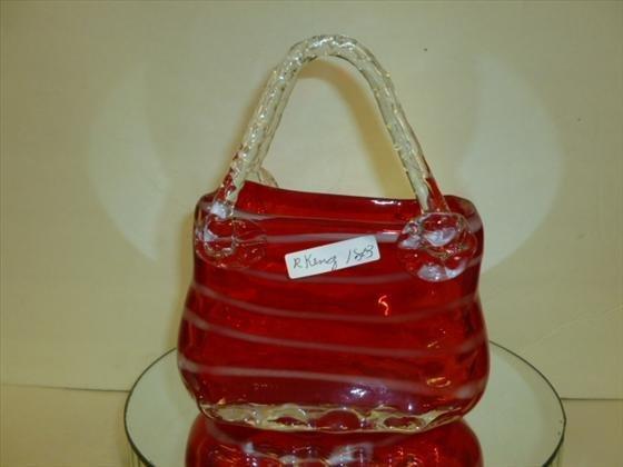 1803: Murano glass purse shaped vase-8 tall