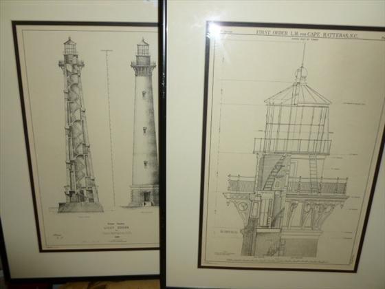 1818: 2 framed-1st order Lighthouse prints