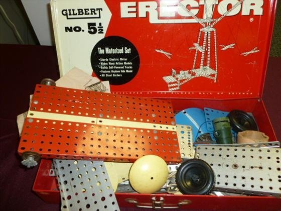 1819: Erector set in red metal box-No#5    1/2-full