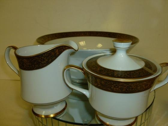 1822: 3pc Sango China-creamer,sugar,vegetable bowl