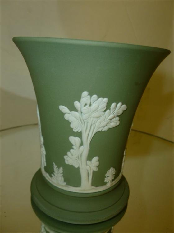 "1830: Wedgwood green Jasperware vase-3 3/4""h"