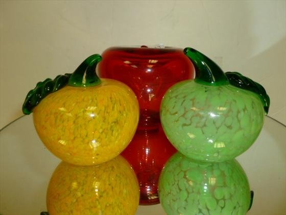 1833: 3 piece blown glass fruit paperweights