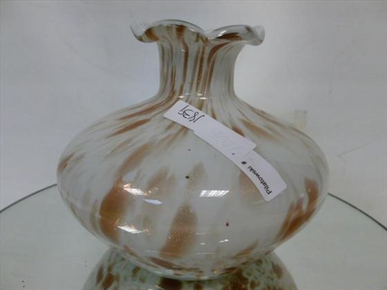 1839: Art glass bulbous ruffled top vase