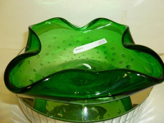 1840: Green glass with bubbles square candy dish