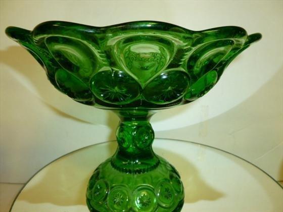 1842: Green glass pedestal scalloped top candy dish