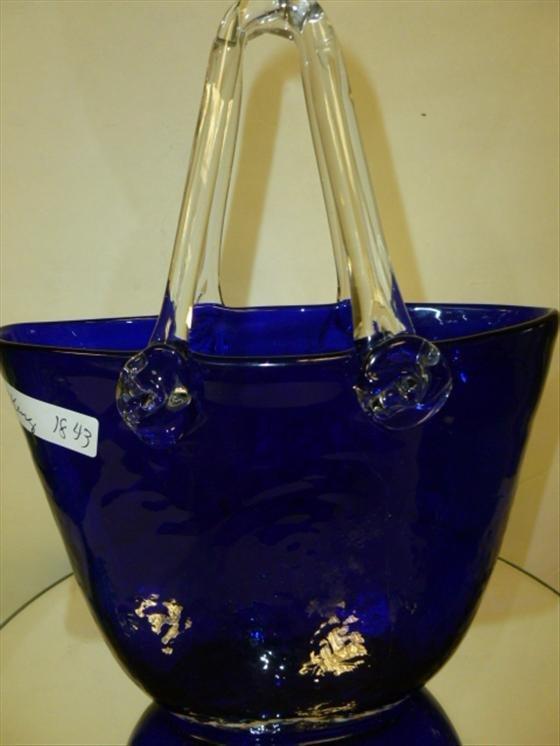 """1843: Cobalt blue glass purse shape vase 10"""""""