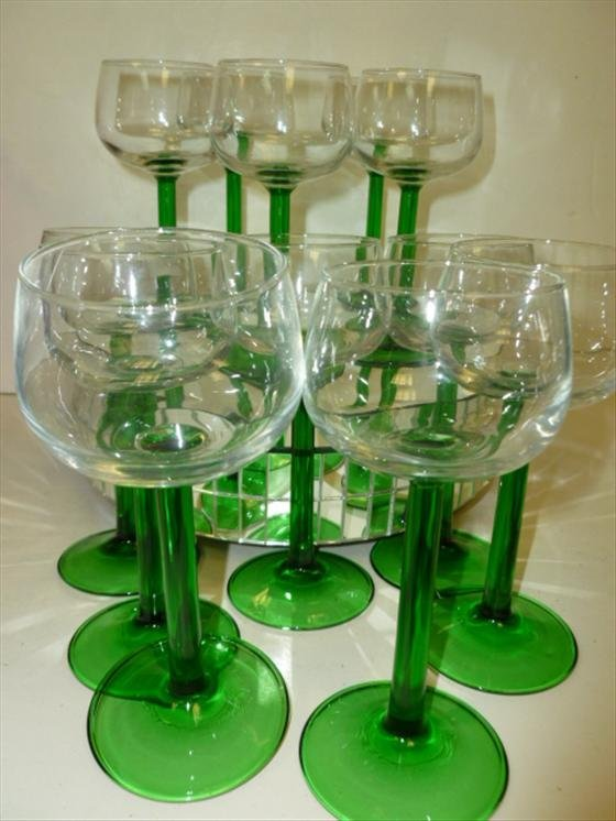 1847: S/12 green stems clear bowls-France
