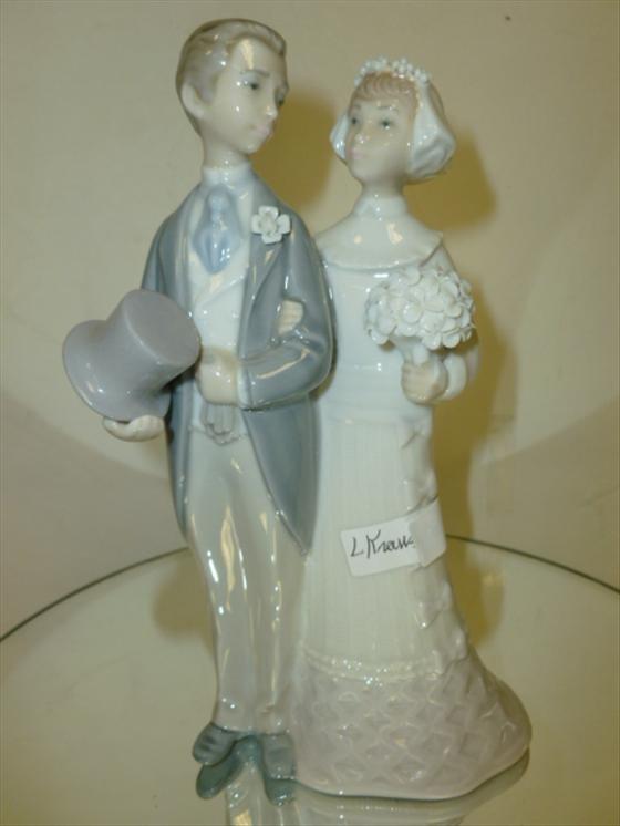 "1848: Lladro wedding figurine-bride and groom-7 3/4""h"