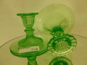 Pair Green Glass Candle Holders-3 3/4 Tall