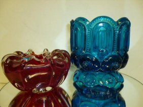2 Pc-glass Murano Bowl & Aqua Bowl