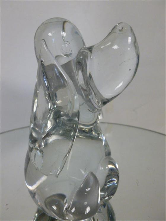 "1880: Clear crystal glass dog  4 1/2""h"