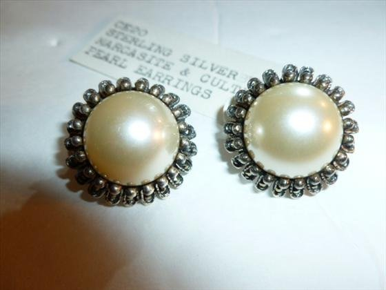 Sterling silver marcasite & pearl earrings