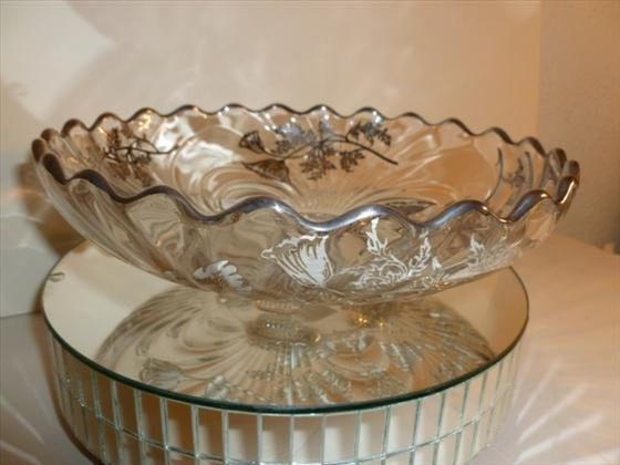 "Silver overlay footed bowl- 9 1/4"" across"