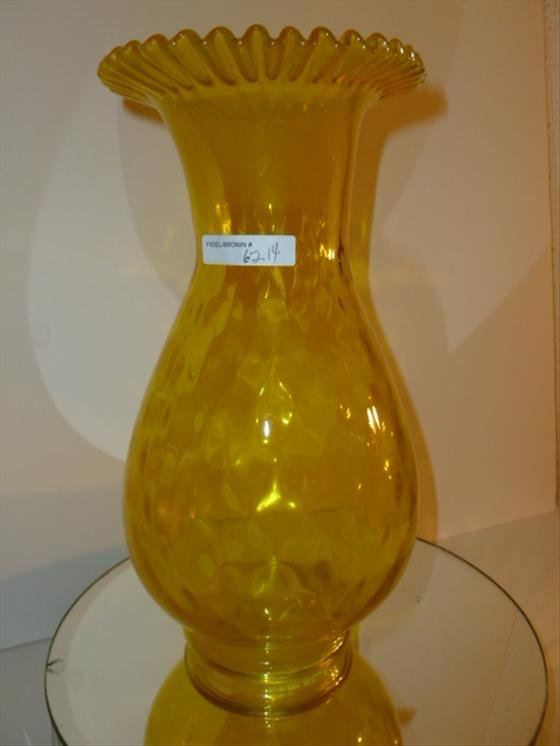 Yellow ruffled top glass vase