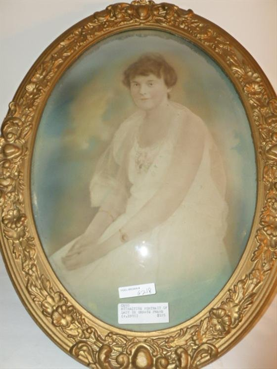Painting -oval frame with glass-Portrait of lady