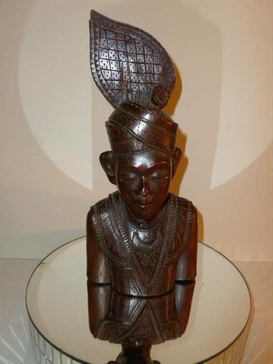 Indian wood carving  man with headdress