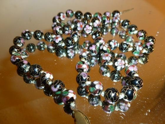 "Cloisonné beads-20""multi colored round"