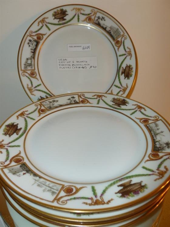 Set 6 Ornate French Porcelain plates