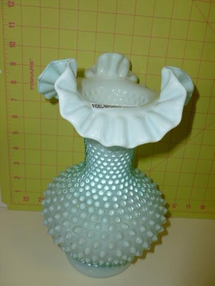 Fenton powder blue hobnail  vase