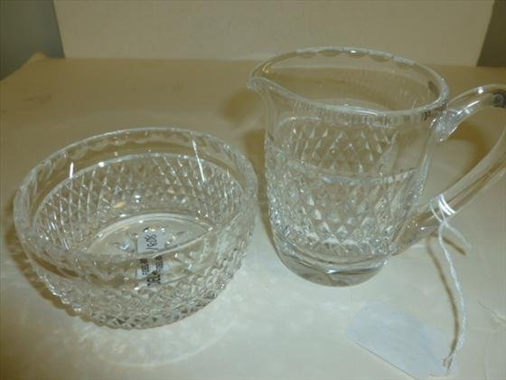 2 pc - Waterford crystal - creamer and sugar