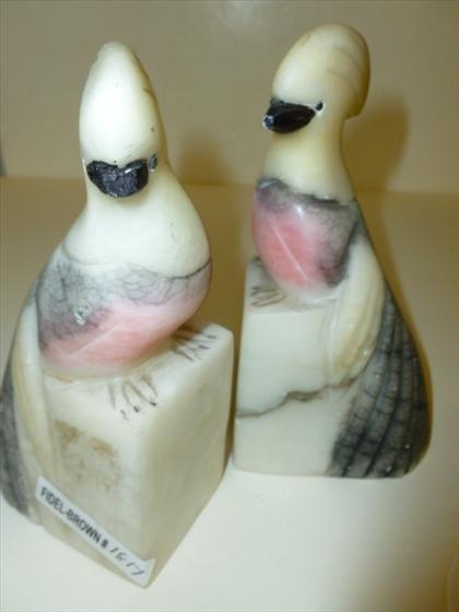 Pair Italian marble cockatiels bird bookends