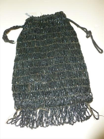 Black beaded bag with pull strings