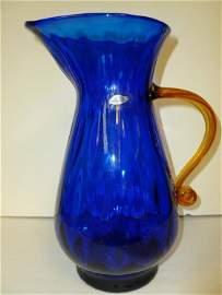 Murano glass ribbed pitcher cobalt blue