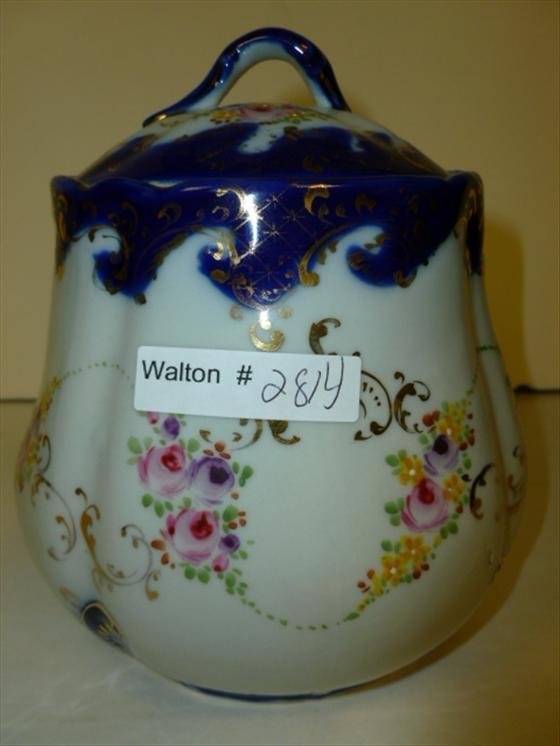Biscuit jar-cobalt blue with colored flowers