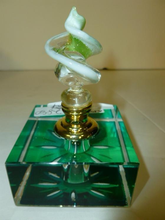 Murano glass perfume square green swirl top