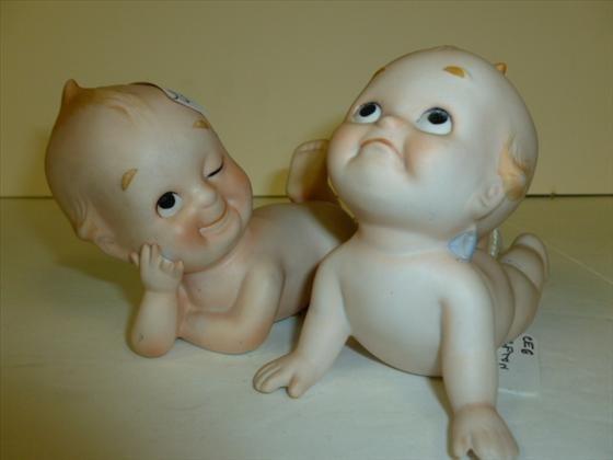 Pair Lefton Kewpie porcelain babies