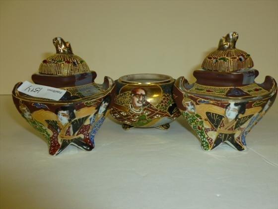 3 pc set- Incense burners and jar