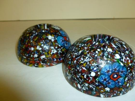 Pair  Millefiori style candle holders