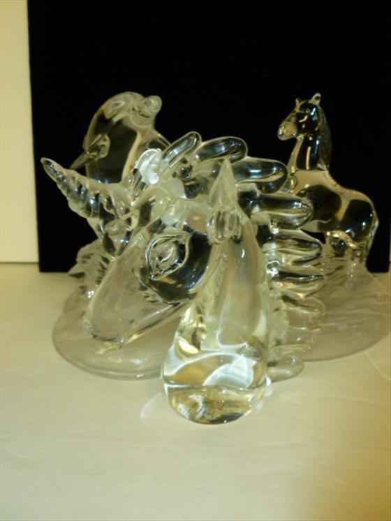 3 crystal figure-Unicorn, horse, dolphin