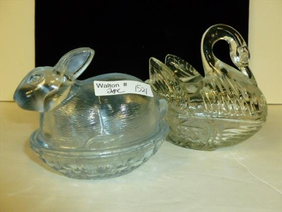 2 pc- clear crystal Swan & rabbit
