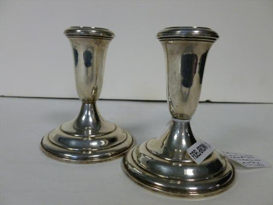 Pair Sterling candle holder bases
