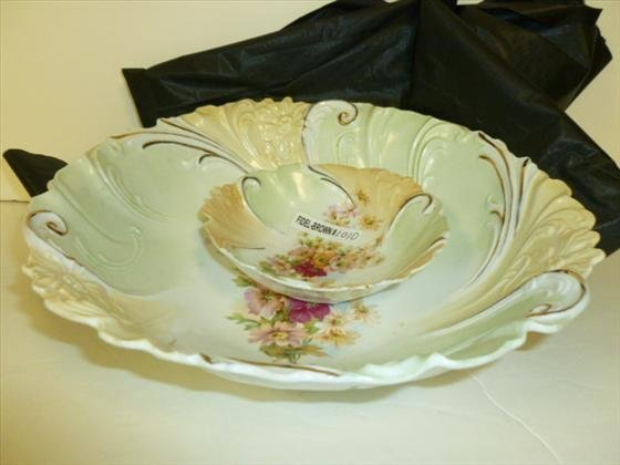 2 pc master and berry dish-unmarked porcelain