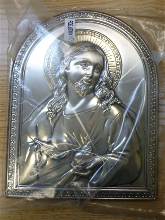 Sacred Heart of Jesus- Silver plated Icon Israel