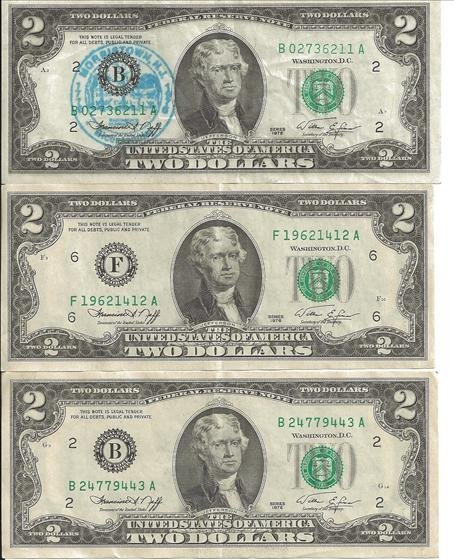 3 1976 Green Seal $2 Bills