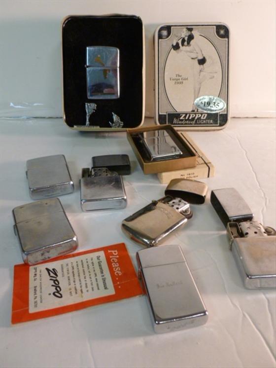 7 Zippo lighters all silver tone