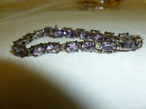 Sterling bracelet with Amethyst with Cz's