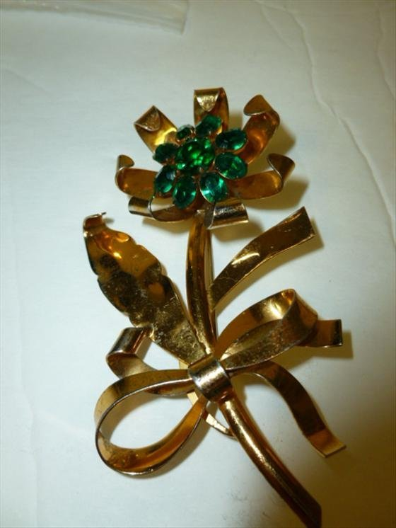 Vintage gold over sterling silver brooch