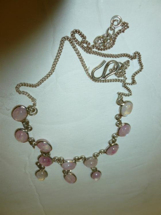 Sterling necklace with Rose Quartz