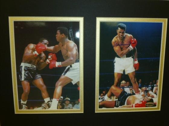 2 matted photos Muhammad Ali- signed