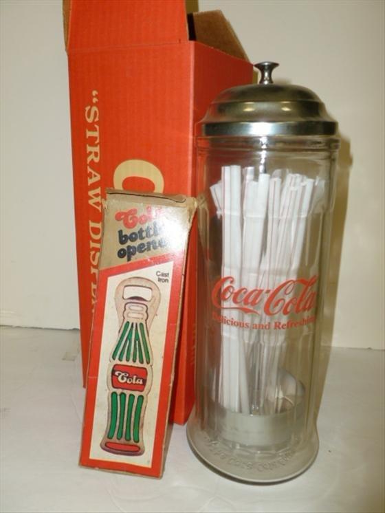 2 pc Coca Cola glass straw dispenser in box