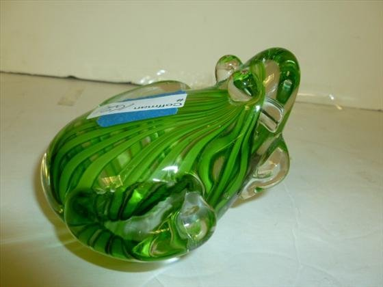 Murano glass frog with green stripes