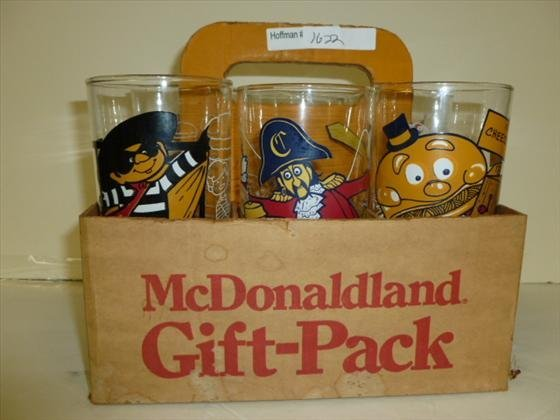Set 6 McDonalds glasses in gift carry case