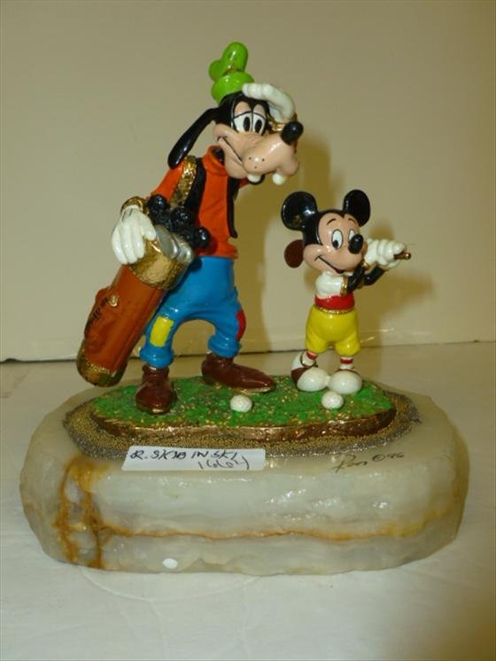 Ron Lee Sculpture- Mickey & Goofy golfing