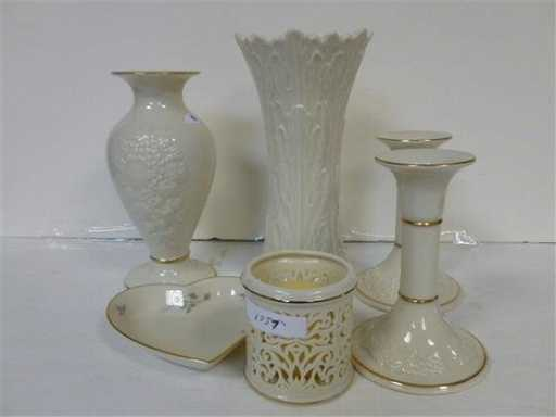 6 Pc Of Lenox Vases Dishes Candle Holder