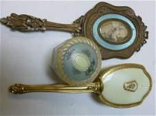 3 pc-mirror brush and dresser box-heavy brass