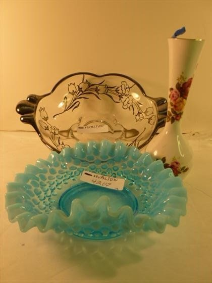 3 piece glass and porcelain